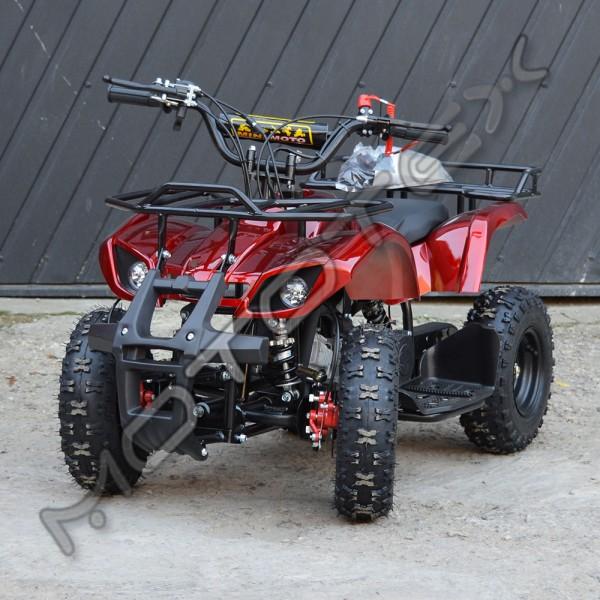Keturratis vaikiškas 49N su rankiniu starteriu ir bagažinė (raudona)